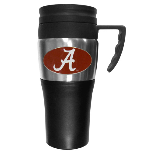 Alabama Crimson Tide Travel Mug - This two-toned 14 oz travel mug with steel accents features a fully cast & enameled Alabama Crimson Tide emblem. Thank you for shopping with CrazedOutSports.com