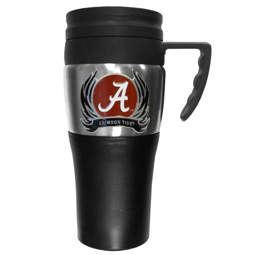 Alabama Crimson Tide Flame Travel Mug - This two-toned 14 oz travel mug with steel accents features a fully cast & enameled Alabama Crimson Tide emblem. Thank you for shopping with CrazedOutSports.com
