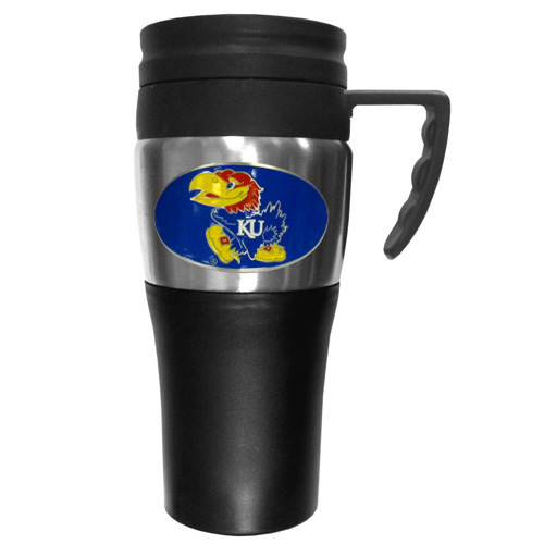 Kansas Jayhawks Travel Mug - This two-toned 14 oz travel mug with steel accents features a fully cast & enameled Kansas Jayhawks emblem. Thank you for shopping with CrazedOutSports.com