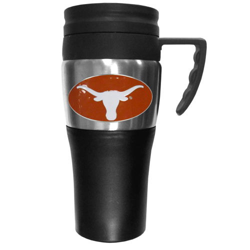 Texas Longhorns Travel Mug - This two-toned 14 oz travel mug with steel accents features a fully cast & enameled Texas Longhorns emblem. Thank you for shopping with CrazedOutSports.com