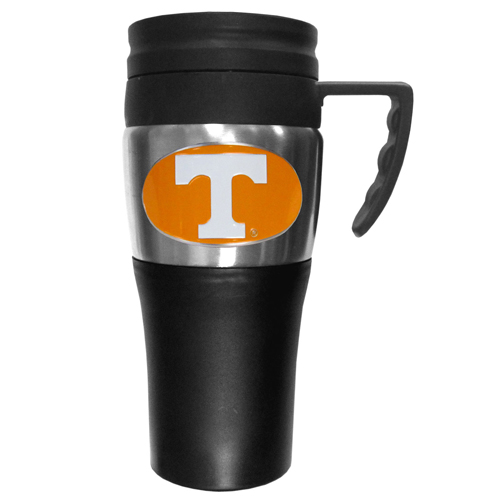 Tennessee Volunteers Travel Mug - This two-toned 14 oz travel mug with steel accents features a fully cast & enameled Tennessee Volunteers emblem. Thank you for shopping with CrazedOutSports.com