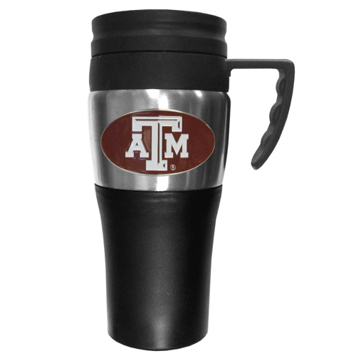 Texas A and M Aggies Travel Mug - This two-toned 14 oz travel mug with steel accents features a fully cast & enameled Texas A & M Aggies emblem. Thank you for shopping with CrazedOutSports.com