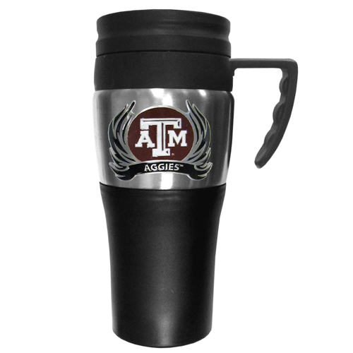 Texas AandM Aggies Flame Travel Mug - This two-toned 14 oz travel mug with steel accents features a fully cast & enameled Texas A & M Aggies emblem. Thank you for shopping with CrazedOutSports.com