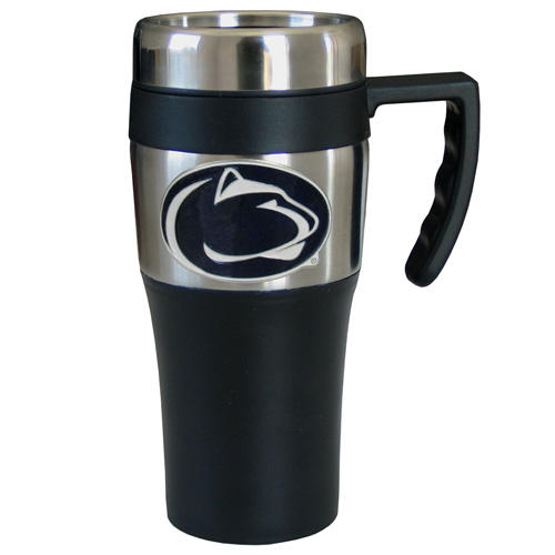 PENN St. Nittany Lions Travel Mug - This two-toned 14 oz travel mug with steel accents features a fully cast & enameled Penn St. Nittany Lions emblem. Thank you for shopping with CrazedOutSports.com