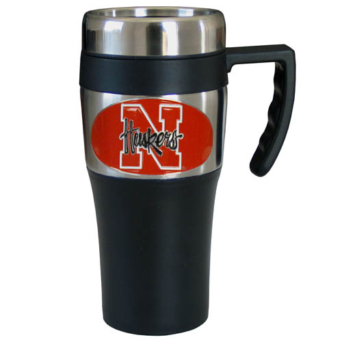 Nebraska Cornhuskers Travel Mug - This two-toned 14 oz travel mug with steel accents features a fully cast & enameled Nebraska Cornhuskers emblem. Thank you for shopping with CrazedOutSports.com