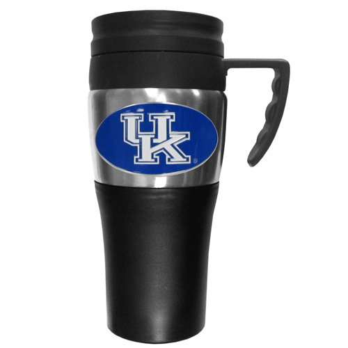 Kentucky Travel Mug - This two-toned 14 oz travel mug with steel accents features a fully cast & enameled Kentucky Wildcats emblem. Thank you for shopping with CrazedOutSports.com