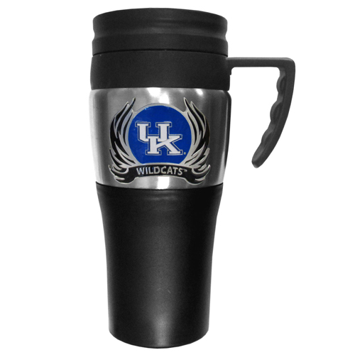 Kentucky Wildcats Flame Travel Mug - This two-toned 14 oz travel mug with steel accents features a fully cast & enameled Kentucky Wildcats emblem. Thank you for shopping with CrazedOutSports.com