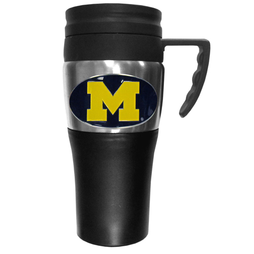 Michigan Wolverines Travel Mug - This two-toned 14 oz travel mug with steel accents features a fully cast & enameled Michigan Wolverines emblem. Thank you for shopping with CrazedOutSports.com