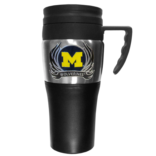 Michigan Wolverines Flame Travel Mug - This two-toned 14 oz travel mug with steel accents features a fully cast & enameled Michigan Wolverines emblem. Thank you for shopping with CrazedOutSports.com