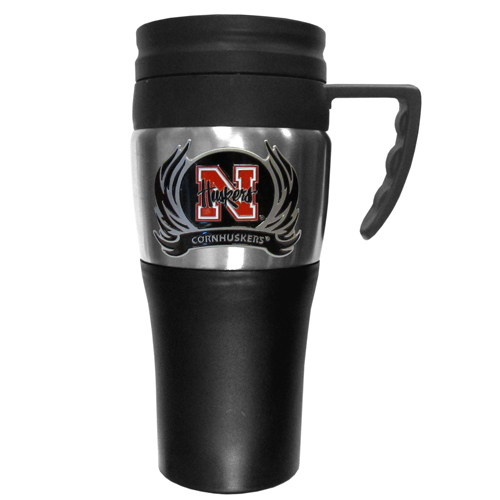 Nebraska Flame Travel Mug - This two-toned 14 oz travel mug with steel accents features a fully cast & enameled Nebraska Cornhuskers emblem. Thank you for shopping with CrazedOutSports.com