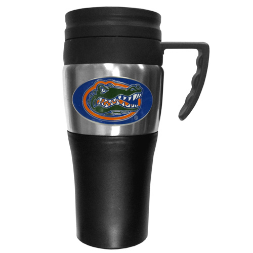 Florida Gators Travel Mug - This two-toned 14 oz travel mug with steel accents features a fully cast & enameled Florida Gators emblem. Thank you for shopping with CrazedOutSports.com