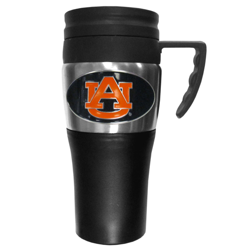 Auburn Tigers Travel Mug - This two-toned 14 oz travel mug with steel accents features a fully cast & enameled Auburn Tigers emblem. Thank you for shopping with CrazedOutSports.com