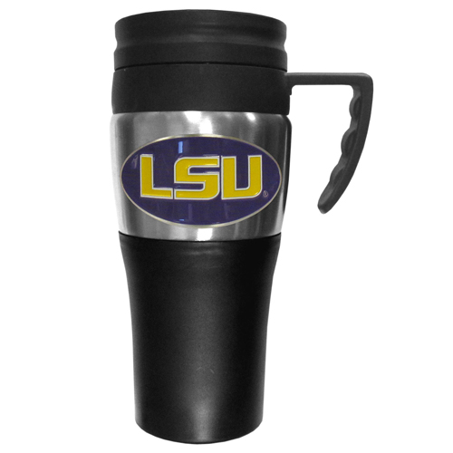 LSU Tigers Travel Mug - This two-toned 14 oz travel mug with steel accents features a fully cast & enameled school emblem. Thank you for shopping with CrazedOutSports.com