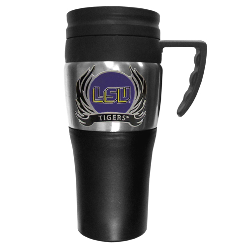 LSU Tigers Flame Travel Mug - This two-toned 14 oz travel mug with steel accents features a fully cast & enameled LSU Tigers emblem. Thank you for shopping with CrazedOutSports.com