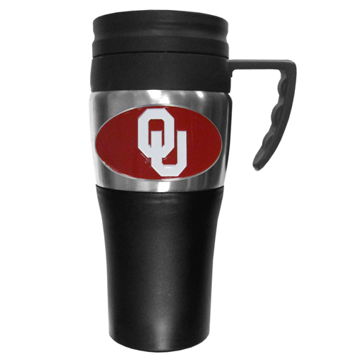 Oklahoma Sooners Travel Mug - This two-toned 14 oz travel mug with steel accents features a fully cast & enameled Oklahoma Sooners emblem. Thank you for shopping with CrazedOutSports.com