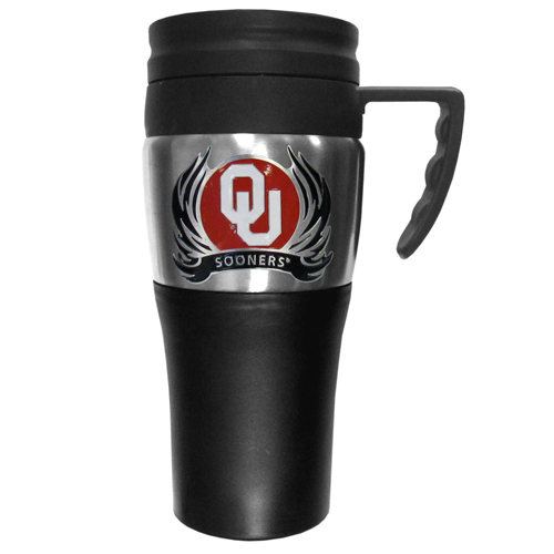 Oklahoma Sooners Flame Travel Mug - This two-toned 14 oz travel mug with steel accents features a fully cast & enameled Oklahoma Sooners emblem. Thank you for shopping with CrazedOutSports.com