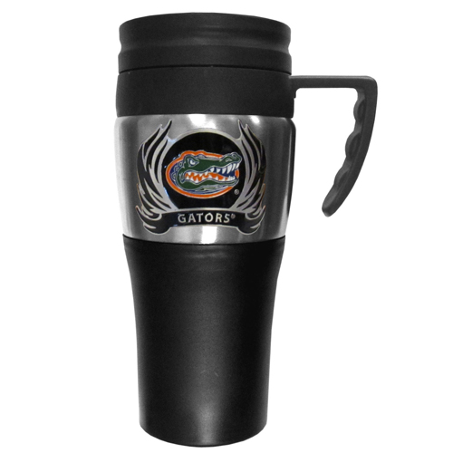 Florida Gators Flame Travel Mug - This two-toned 14 oz travel mug with steel accents features a fully cast & enameled Florida Gators emblem. Thank you for shopping with CrazedOutSports.com