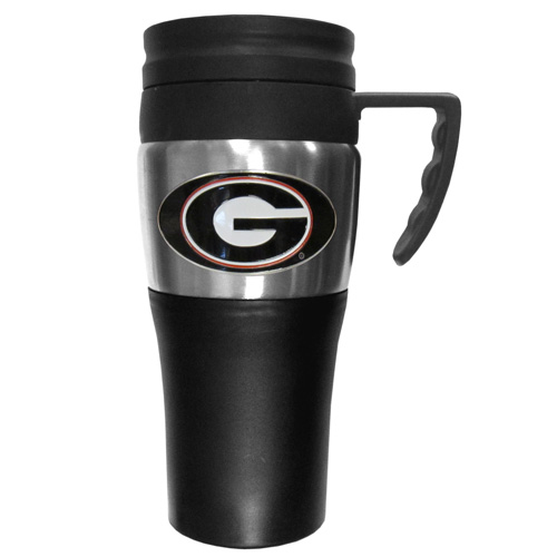 Georgia Bulldogs Travel Mug - This two-toned 14 oz travel mug with steel accents features a fully cast & enameled Georgia Bulldogs emblem. Thank you for shopping with CrazedOutSports.com