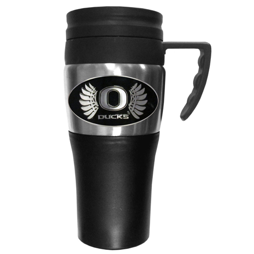 Oregon Ducks Travel Mug - This two-toned 14 oz travel mug with steel accents features a fully cast & enameled school emblem. Thank you for shopping with CrazedOutSports.com