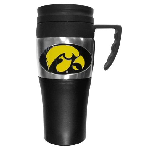 Iowa Hawkeyes Travel Mug - This two-toned 14 oz travel mug with steel accents features a fully cast & enameled Iowa Hawkeyes emblem. Thank you for shopping with CrazedOutSports.com