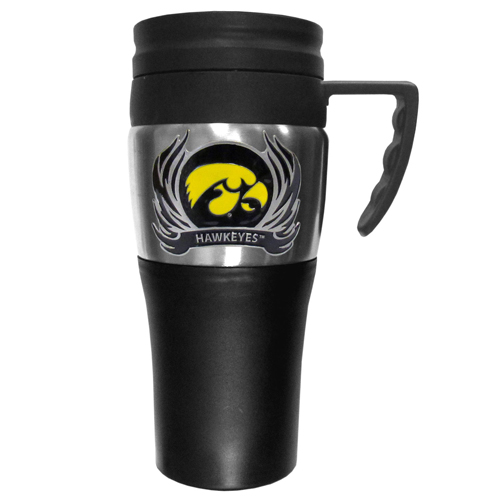 Iowa Hawkeyes Flame Travel Mug - This two-toned 14 oz travel mug with steel accents features a fully cast & enameled Iowa Hawkeyes emblem. Thank you for shopping with CrazedOutSports.com