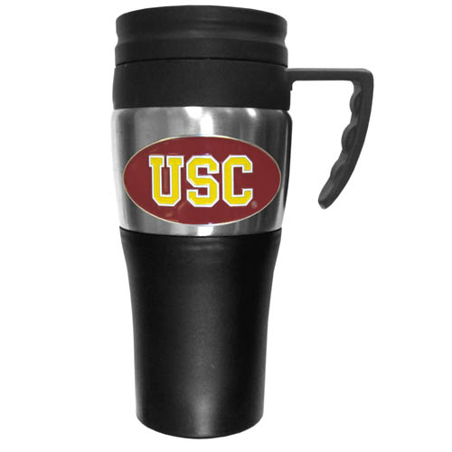 USC Trojans Travel Mug - This two-toned 14 oz travel mug with steel accents features a fully cast & enameled school emblem. Thank you for shopping with CrazedOutSports.com