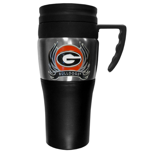 Georgia Bulldogs Flame Travel Mug - This two-toned 14 oz travel mug with steel accents features a fully cast & enameled Georgia Bulldogs emblem. Thank you for shopping with CrazedOutSports.com