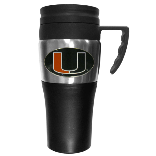 Miami Hurricanes Travel Mug - This two-toned 14 oz travel mug with steel accents features a fully cast & enameled Miami Hurricanes emblem. Thank you for shopping with CrazedOutSports.com