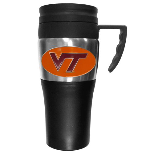 Virginia Tech Travel Mug - This two-toned 14 oz travel mug with steel accents features a fully cast & enameled school emblem. Thank you for shopping with CrazedOutSports.com
