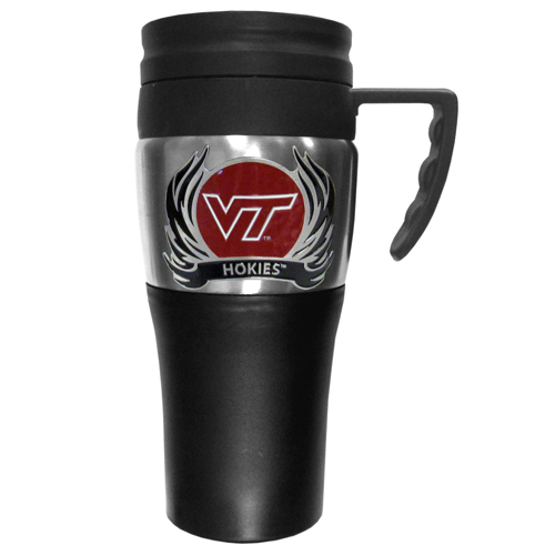 Virginia Tech Flame Travel Mug - This two-toned 14 oz travel mug with steel accents features a fully cast & enameled Virginia Tech Hokies emblem. Thank you for shopping with CrazedOutSports.com