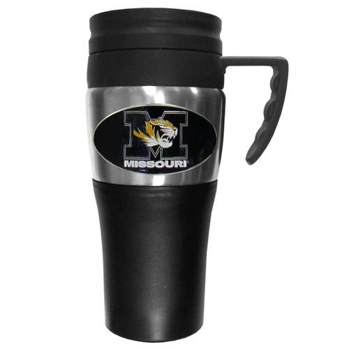 Missouri Travel Mug - This two-toned 14 oz travel mug with steel accents features a fully cast & enameled Missouri Tigers emblem. Thank you for shopping with CrazedOutSports.com