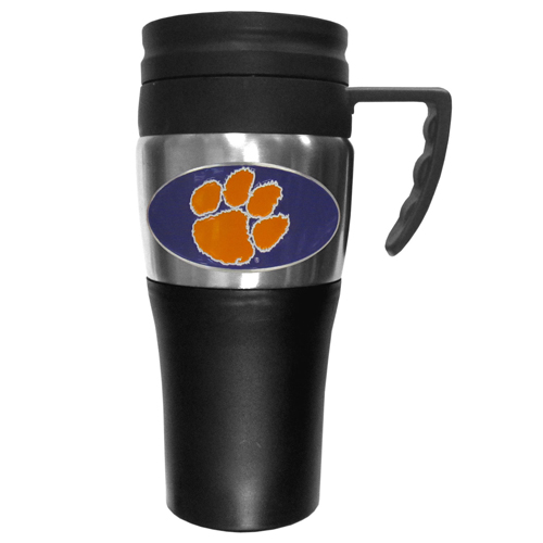 Clemson Tigers Travel Mug - This two-toned 14 oz travel mug with steel accents features a fully cast & enameled Clemson Tigers emblem. Thank you for shopping with CrazedOutSports.com