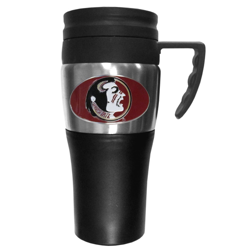 Florida St. Travel Mug - This two-toned 14 oz travel mug with steel accents features a fully cast & enameled Florida St. Seminoles emblem. Thank you for shopping with CrazedOutSports.com