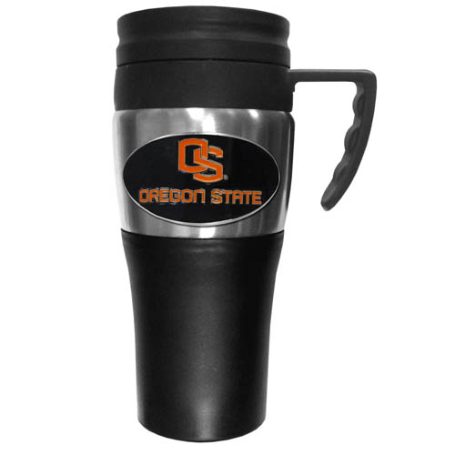 Oregon St. Travel Mug - This two-toned 14 oz travel mug with steel accents features a fully cast & enameled school emblem. Thank you for shopping with CrazedOutSports.com