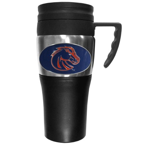 Boise St. Broncos Insulated Travel Mug - This two-toned 14 oz travel mug with steel accents features a fully cast & enameledBoise State Broncos school emblem. Thank you for shopping with CrazedOutSports.com