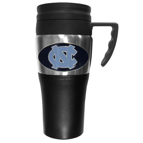N. Carolina Travel Mug - This two-toned 14 oz travel mug with steel accents features a fully cast & enameled N. Carolina Tar Heels emblem. Thank you for shopping with CrazedOutSports.com