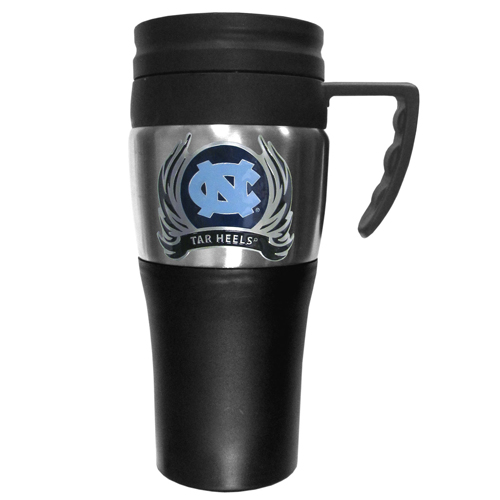 N. Carolina Flame Travel Mug - This two-toned 14 oz travel mug with steel accents features a fully cast & enameled N. Carolina Tar Heels emblem. Thank you for shopping with CrazedOutSports.com