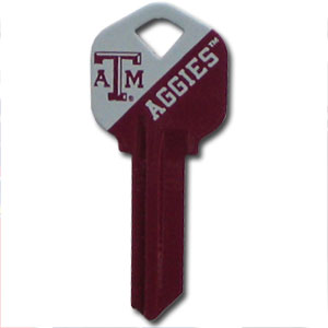 Kwikset Key - Texas A and M Aggies - College house keys are a great way to show school spirit while keeping keys organized. Keys can be cut to fit your home or office Kwikset keys (reference pre-fix CSK for Schlage keys).  Thank you for shopping with CrazedOutSports.com