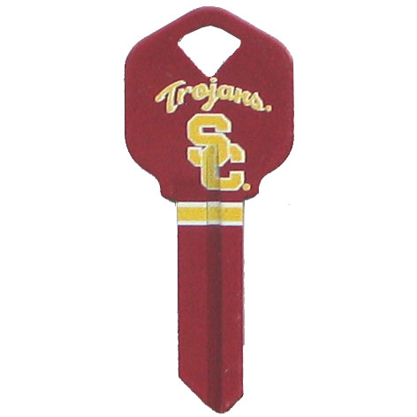 Kwikset Key - USC Trojans - College house keys are a great way to show school spirit while keeping keys organized. Keys can be cut to fit your home or office Kwikset keys (reference pre-fix CSK for Schlage keys).  Thank you for shopping with CrazedOutSports.com