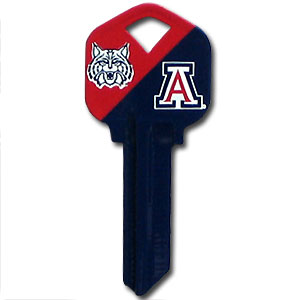 Kwikset Key - Arizona Wildcats - College house keys are a great way to show Arizona Wildcats school spirit while keeping keys organized. Keys can be cut to fit your home or office Kwikset keys (reference pre-fix CSK for Schlage keys).  Thank you for shopping with CrazedOutSports.com