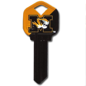 Kwikset Key - Missouri Tigers - College house keys are a great way to show school spirit while keeping keys organized. Keys can be cut to fit your home or office Kwikset keys (reference pre-fix CSK for Schlage keys).  Thank you for shopping with CrazedOutSports.com