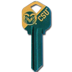 Kwikset Key - Colorado State Rams - College house keys are a great way to show Colorado State Rams school spirit while keeping keys organized. Keys can be cut to fit your home or office Kwikset keys (reference pre-fix CSK for Schlage keys).  Thank you for shopping with CrazedOutSports.com