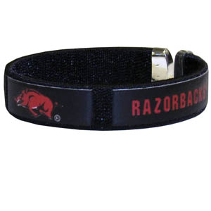 Arkansas Razorbacks Fan Band Bracelet - Our Arkansas Razorbacks fan band is a one size fits all string cuff bracelets with a screen printed ribbon with the team name and logo. Thank you for shopping with CrazedOutSports.com