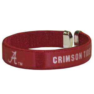 Alabama Crimson Tide Fan Band Bracelet - Our Alabama Crimson Tide fan band is a one size fits all string cuff bracelets with a screen printed ribbon with the team name and logo. Thank you for shopping with CrazedOutSports.com