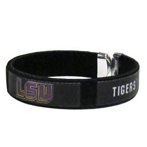 LSU Tigers Fan Band Bracelet - This LSU Tigers fan band bracelet is a one size fits all string cuff bracelets with a screen printed ribbon with the team name and logo. Thank you for shopping with CrazedOutSports.com