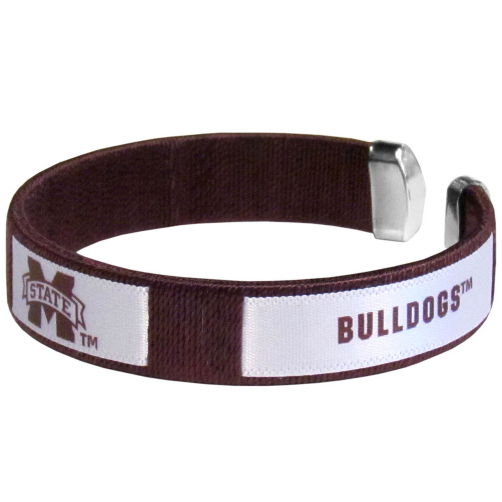 Mississippi St. Bulldogs Fan Bracelet - Our Fan Bracelet is a one size fits all string cuff bracelets with a screen printed ribbon with the team Mississippi St. Bulldogs name and logo.