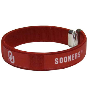 Oklahoma Fan Band Bracelet - Our Oklahoma Sooners fan band is a one size fits all string cuff bracelets with a screen printed ribbon with the team name and logo. Thank you for shopping with CrazedOutSports.com