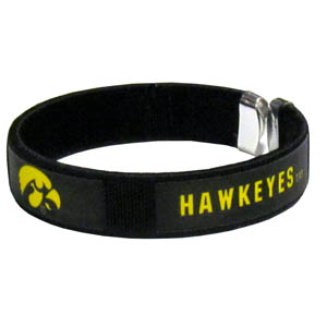 Iowa Hawkeyes Fan Band Bracelet - Our Iowa Hawkeyes fan band is a one size fits all string cuff bracelets with a screen printed ribbon with the team name and logo. Thank you for shopping with CrazedOutSports.com