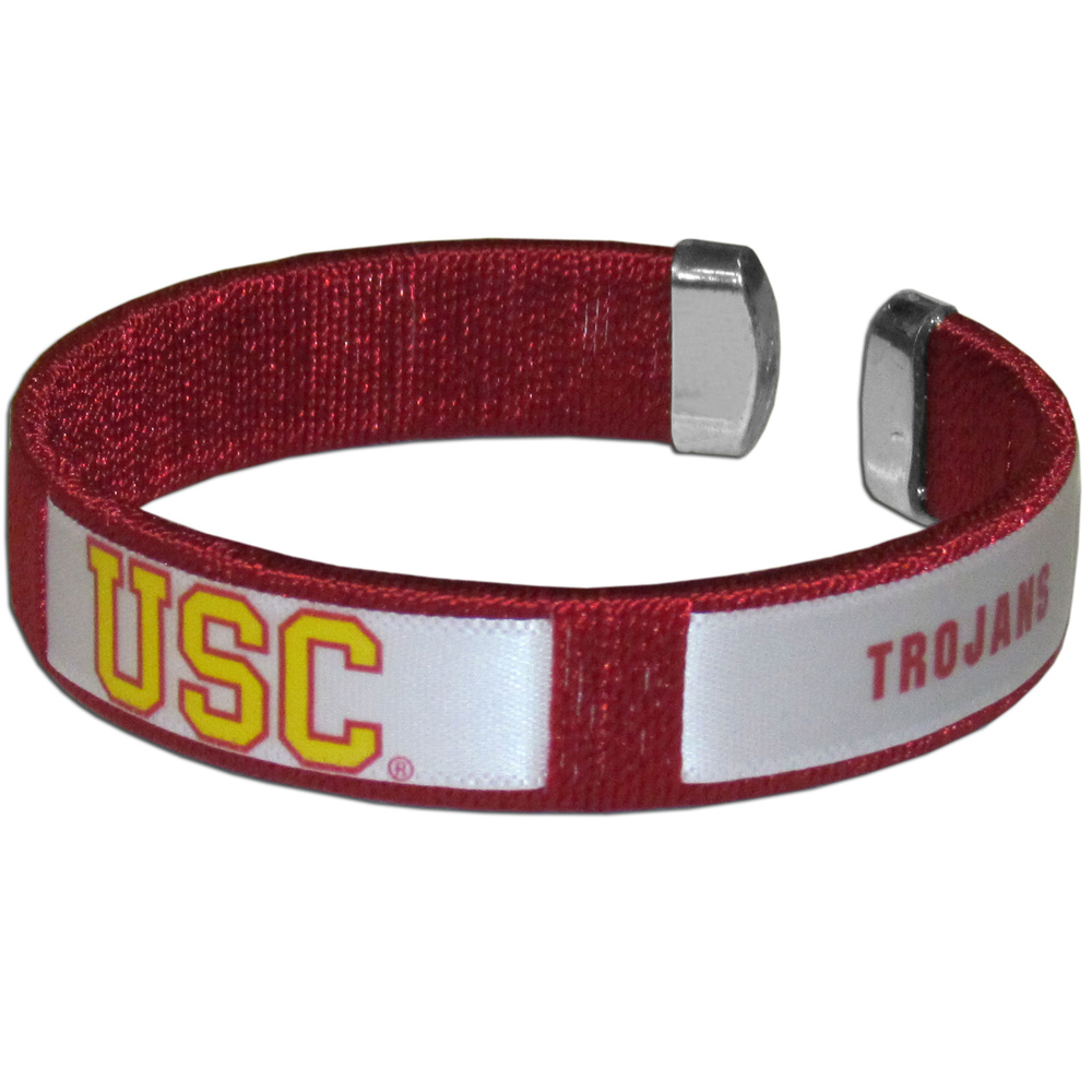 USC Trojans Fan Bracelet - Our Fan Bracelet is a one size fits all string cuff bracelets with a screen printed ribbon with the team USC Trojans name and logo.