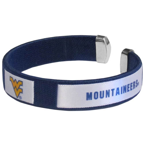 W. Virginia Mountaineers Fan Bracelet - Our W. Virginia Mountaineers Fan Bracelet is a one size fits all string cuff bracelets with a screen printed ribbon with the team name and logo. Thank you for shopping with CrazedOutSports.com